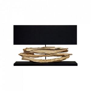 Veioza maro/neagra din in si lemn 55 cm Riverine Invicta Interior