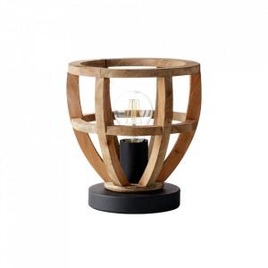 Veioza maro/neagra din metal si lemn 21,5 cm Matrix Brilliant