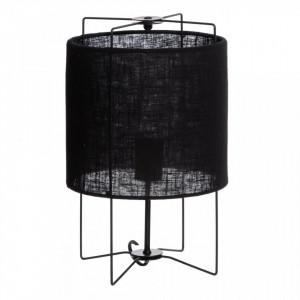 Veioza neagra din fier si textil 40 cm Fabia Ixia