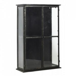 Vitrina pentru perete neagra/transparenta din sticla si fier 81 cm Downtown Nordal