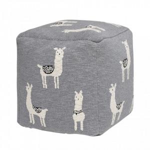 Puf patrat gri pentru copii din bumbac 38x38 cm Llama Bloomingville