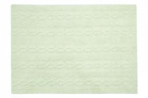 Covor dreptunghiular verde menta din bumbac 120x160 cm Braids Soft Mint Medium Lorena Canals
