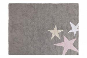 Covor dreptunghiular gri/roz din bumbac 120x160 cm Three Stars Grey Pink Lorena Canals