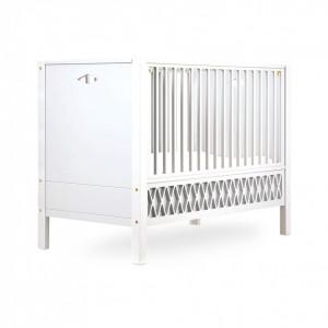 Patut alb din lemn si MDF pentru copii 60x120 cm Harlequin White Cam Cam