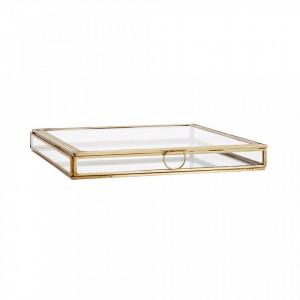 Cutie pentru bijuterii din fier si sticla Esteban Medium Brass Madam Stoltz