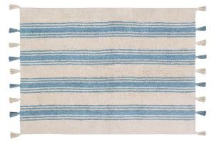 Covor dreptunghiular crem/albastru din bumbac 120x160 cm Stripes Nile Blue Lorena Canals