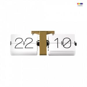 Ceas perete dreptunghiular alb/maro alama din metal si plastic 36 cm No Case Present Time