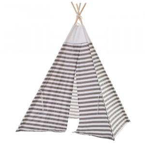 Cort alb/gri din lemn si poliester pentru copii Tipi Lines Unimasa