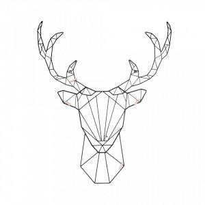 Panou foto negru din metal Deer Black Present Time