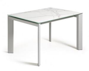 Masa dining extensibila gri/alba din sticla si otel 80x(120)180 cm Atta La Forma