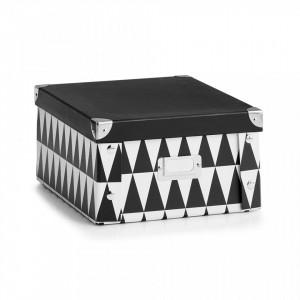 Cutie cu capac neagra/alba din carton Triangle Two Zeller