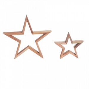 Set 2 decoratiuni maro din lemn de tec Star Raw Materials
