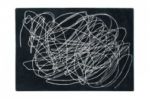 Covor dreptunghiular negru/alb din bumbac si lana 170x240 cm Scribble Black White Lorena Canals