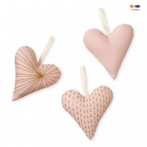 Set 3 decoratiuni suspendabile roz din bumbac organic Hearts Blossom Pink Cam Cam