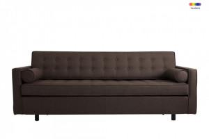 Canapea extensibila maro din poliester si lemn pentru 3 persoane Topic Coffe Custom Form