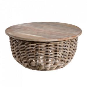 Masuta gri din ratan si lemn de tec 70 cm Jamola Ixia