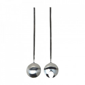 Set lingura si furculita neagra/argintie din inox pentru salata Style House Doctor