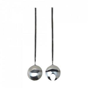 Set lingura si furculita neagra/argintie din inox pentru salata Salad Style House Doctor