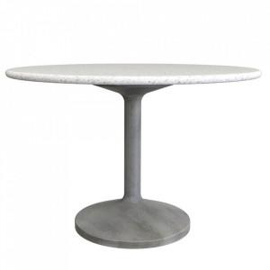 Masa dining gri/alba din terrazzo 100 cm Dian Zago