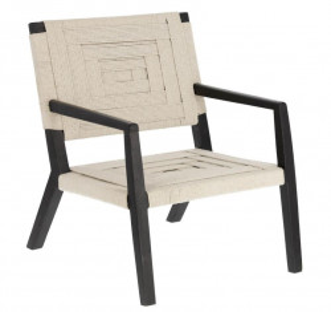 Scaun lounge crem/negru din lemn de mango si bumbac Shami La Forma