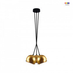 Lustra aurie/neagra din sticla si otel cu 3 becuri Myoo Gold Triple Sotto Luce