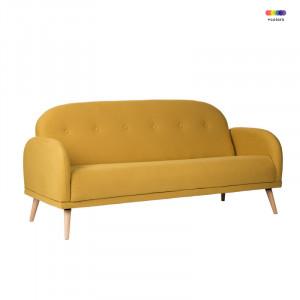Canapea galbena din lemn de pin si poliester pentru 2 persoane Chicago Yellow Somcasa