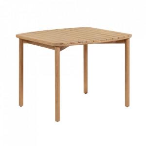 Masa dining maro din lemn de eucalipt pentru exterior 90x90 cm Sheryl La Forma
