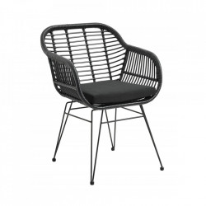 Scaun lounge negru din otel si poliester pentru exterior Garden Chair Nordal