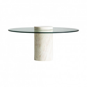 Masuta transparenta/alba din sticla si marmura pentru cafea 76 cm Peseux Vical Home
