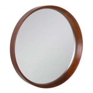 Oglinda maro din lemn de fag si sticla 60 cm Evika Ixia
