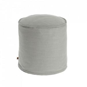 Puf rotund gri deschis din textil 42 cm Maelina La Forma