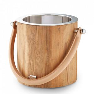 Galeata maro/argintie din lemn de tec si inox pentru gheata Havanna Edzard