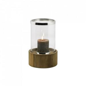 Suport maro/argintiu din lemn de tec si sticla pentru lumanare 34 cm Frisco Edzard