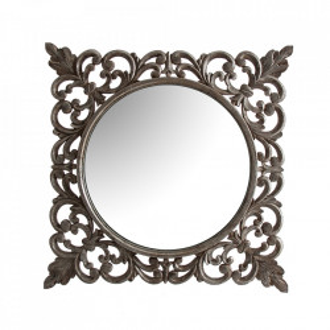 Oglinda patrata argintie din lemn 115x115 cm Avi Vical Home
