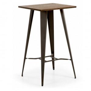 Masa bar din metal negru si lemn Malibu La Forma