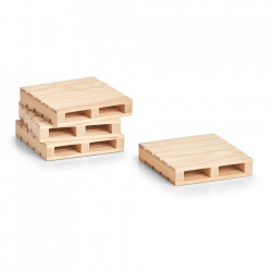 Set 4 coastere maro din lemn de pin Pallet Zeller