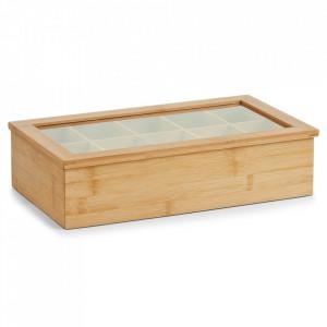Cutie maro/transparenta din lemn si plastic acrilic pentru ceaiuri Tea Bag Ten Zeller