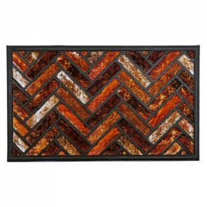 Pres dreptunghiular maro din poliamida si cauciuc pentru intrare 45x75 cm Vintage Lako