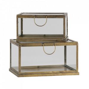 Set 2 cutii cu capac aurii din metal si sticla Fortune Be Pure Home
