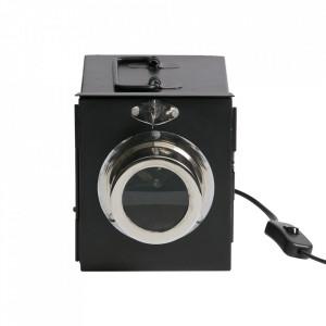 Veioza neagra din metal 16 cm Projector Be Pure Home