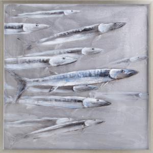 Tablou multicolor din canvas si lemn 80x80 cm Fish Ter Halle