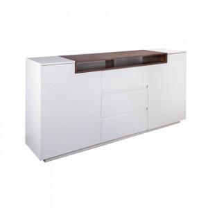 Bufet inferior alb/maro din MDF 180 cm Loft Invicta Interior