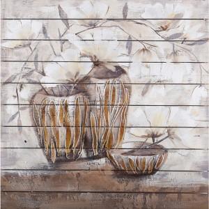 Tablou multicolor din canvas si lemn 100x100 cm Ivy Ter Halle
