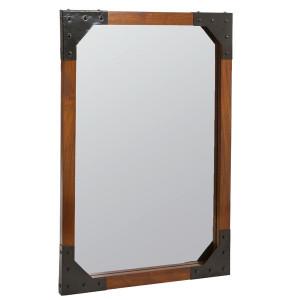 Oglinda dreptunghiulara maro din lemn mindi 70x100 cm Meka Santiago Pons