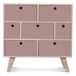 Comoda roz/maro din lemn si placaj 69 cm Etoile Opjet Paris