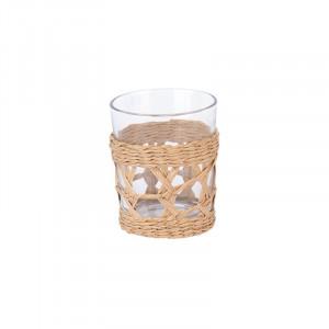 Pahar transparent/crem din sticla si hartie 8x10 cm Etso LifeStyle Home Collection