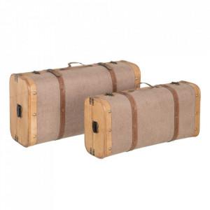 Set 2 cutii tip valiza grej din lemn si textil Ladia Ixia