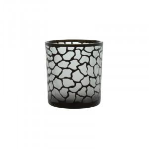 Suport negru din sticla pentru lumanare 8 cm Jafari Lifestyle Home Collection