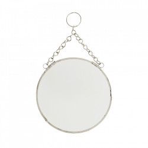 Oglinda suspendabila argintie din fier si sticla 15 cm Mario Madam Stoltz