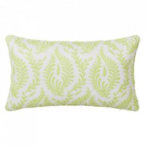Perna decorativa dreptunghiulara verde/alba din poliester 30x50 cm Cindy Unimasa